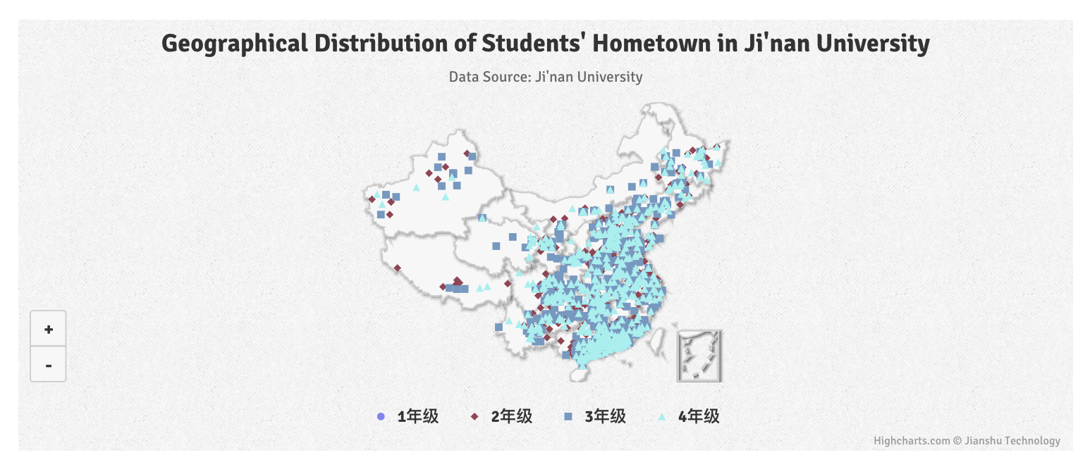 Geographical Distribution of Students' Hometown in Ji'nan University